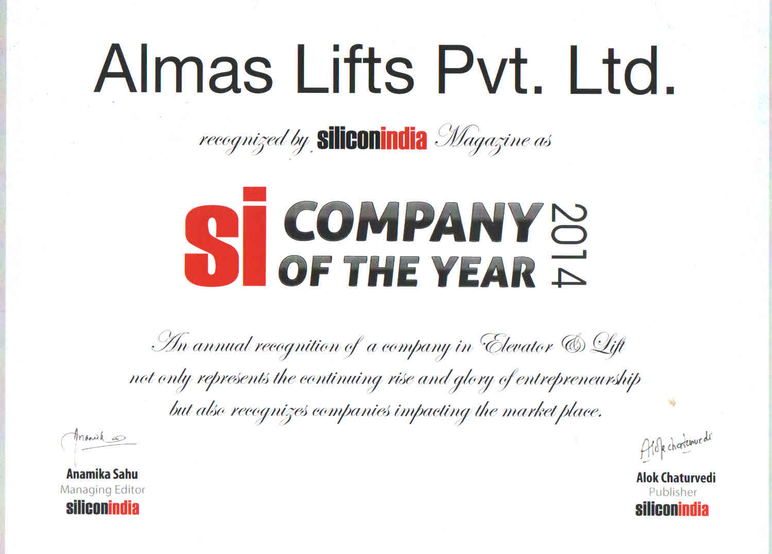 Silicon India Company Of The Year
